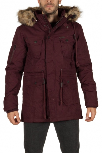 Men's hooded parka wine