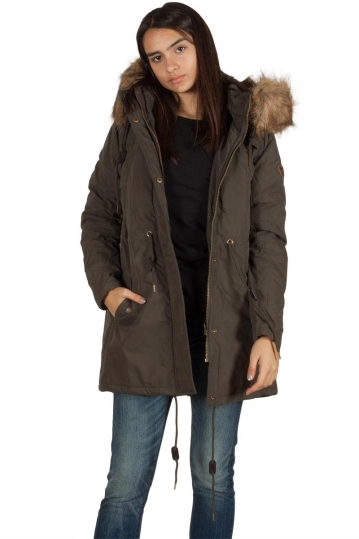 Women's parka khaki with hood