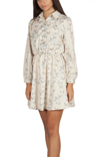 Migle + me Deer print mini dress beige