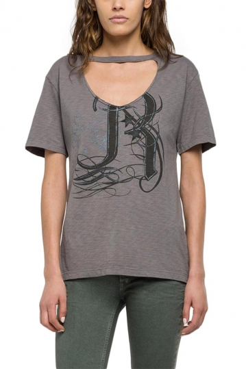 Replay women's t-shirt grey with front opening