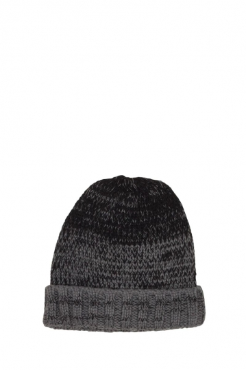 Turn up beanie grey-black melange