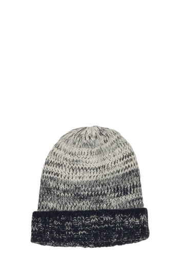 Turn up beanie white-black melange