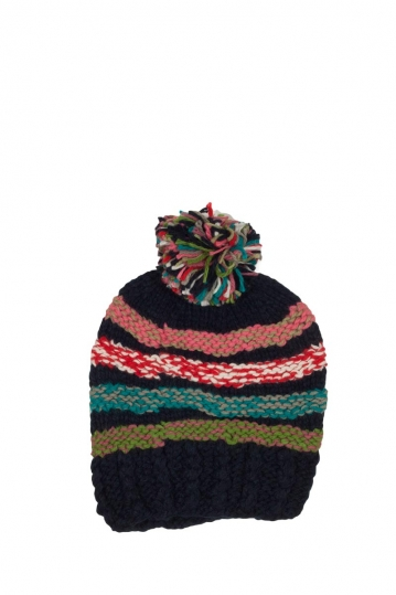 Pom pom beanie blue with multi stripes