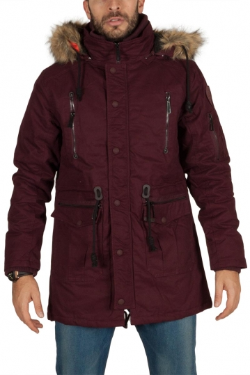 Men's cotton parka wine red