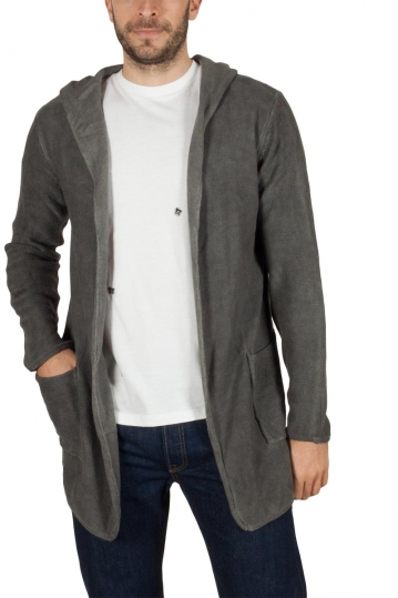 Men's longline hooded cardigan dark grey