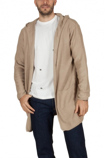 Men's longline hooded cardigan beige
