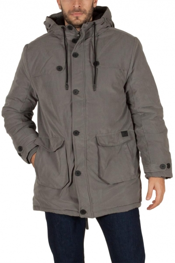Men's hooded parka jacket grey