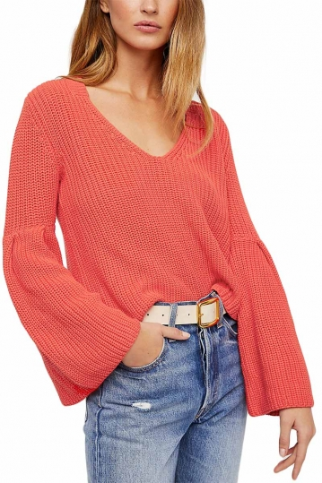 Free People Damsel cotton pullover coral