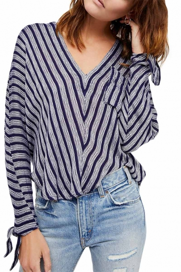 Free People Morning striped top blue