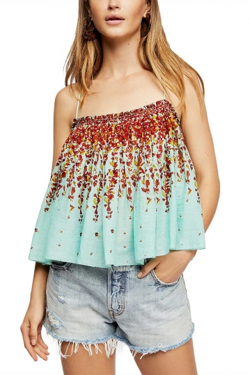 Free People Instant Crush cami turquoise with floral