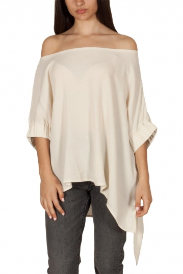 Lotus Eaters Minnesota asymmetric Bardot top ecru
