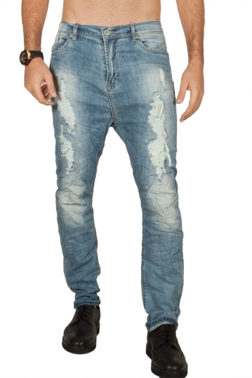 Ryujee men's faded and distressed jeans