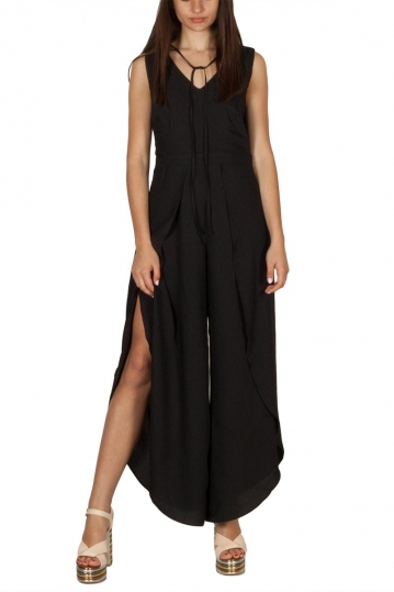 Ryujee Danielle wrap side slits jumpsuit black