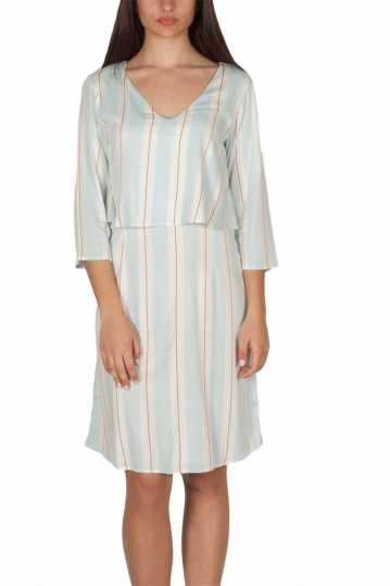 Soft Rebels Carry double layer dress striped with V-neck