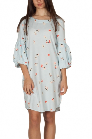 Soft Rebels Near balloon sleeve tunic dress aqua