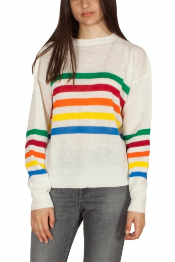 Daisy Street jumper cream with rainbow stripes