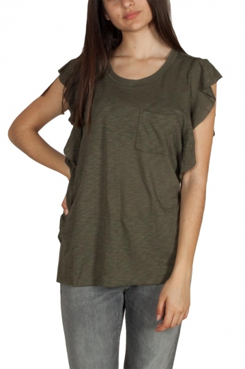 Free People So easy ruffled sleeve top army