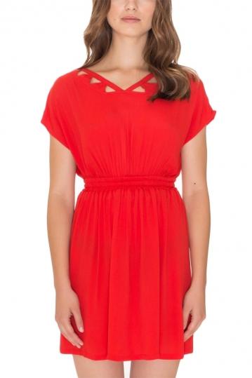 Pepaloves Guiomar short sleeve mini dress red