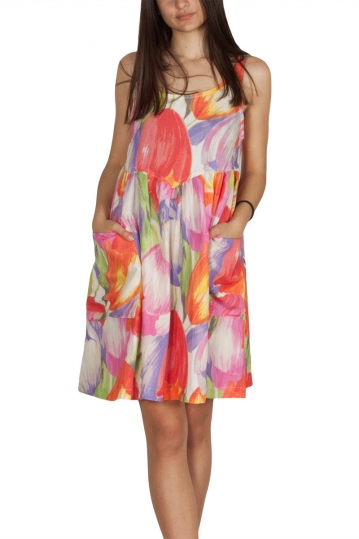 Pepaloves Marita sleeveless smock mini dress multi