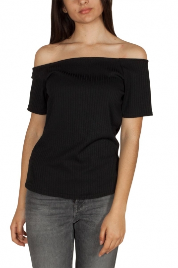 Rut & Circle off shoulder rib top black