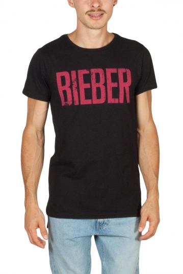 Amplified Justin Bieber logo μακρύ t-shirt μαύρο