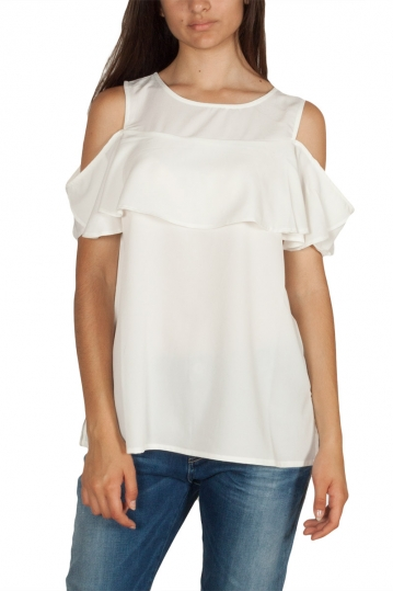 Rut & Circle Sanna cold shoulder frill top white