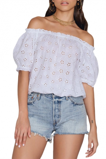 Rut & Circle Boel Singoalla crop top white