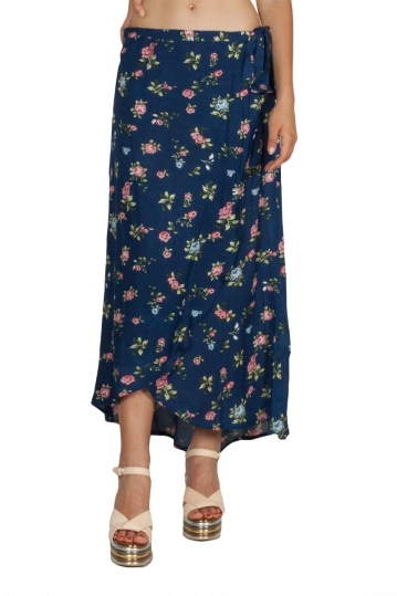 Rut & Circle Zoley wrap skirt navy floral