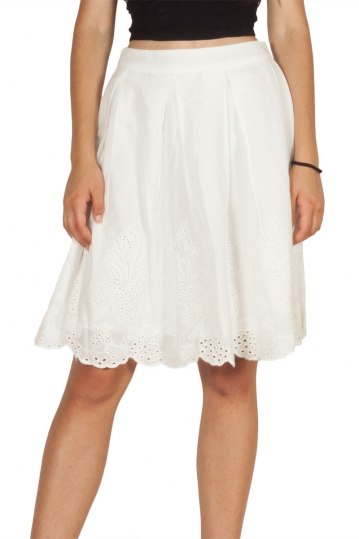 Soft Rebels Side openwork embroidered skirt white