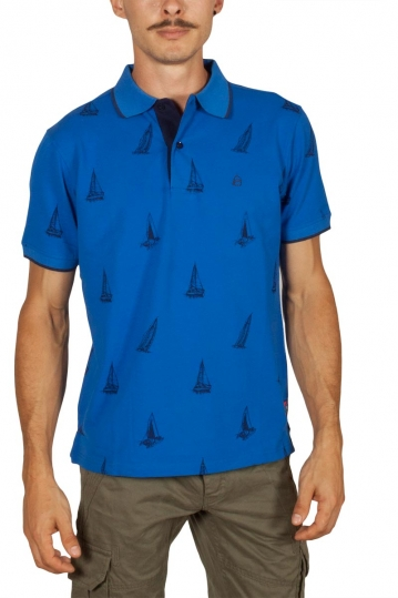 Beneto Maretti printed pique polo shirt electric blue