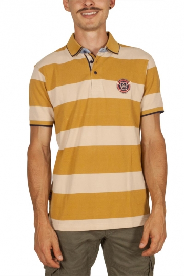 Beneto Maretti striped pique polo shirt mustard