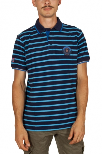 Beneto Maretti pique polo shirt navy-blue stripes