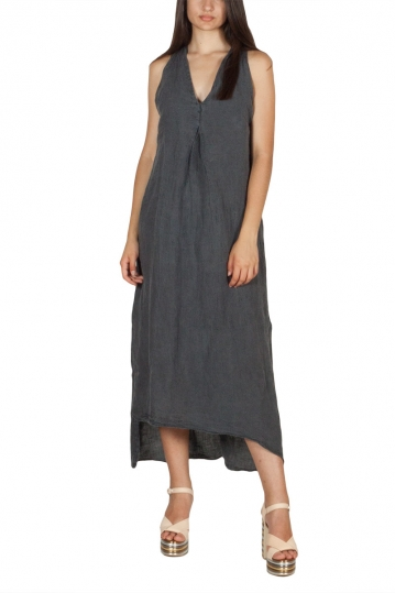 Lotus Eaters Jefferson open back linen dress dark grey