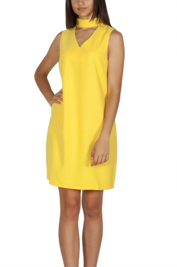 Migle + me choker neck sleeveless dress yellow