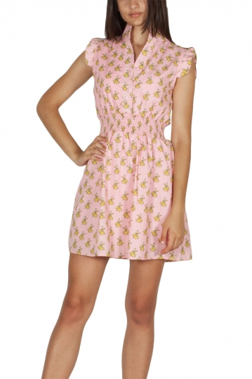 Migle + me sleeveless mini dress pink grazy banana print