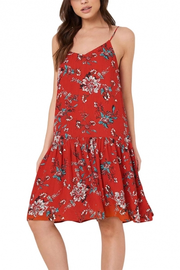 Rut & Circle Fatima dropped waist strap dress red