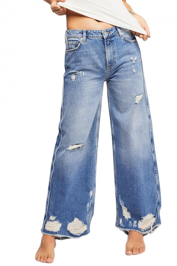 Free People Piper distressed wide leg jeans