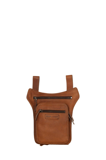 Hill Burry men's belt and thigh leather bag brown