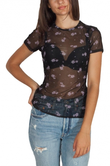 Daisy Street floral mesh top black