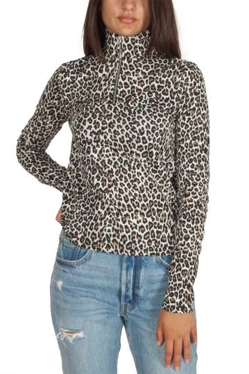Daisy Street leopard half zip top with high neck