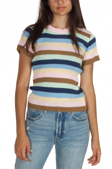 Daisy Street colour block striped short sleeve jumper