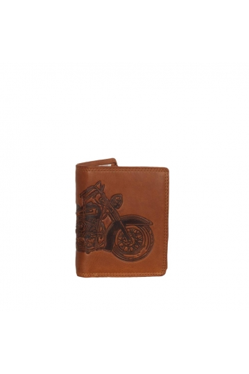 Hill Burry men's leather RFID wallet with motorcycle embossed