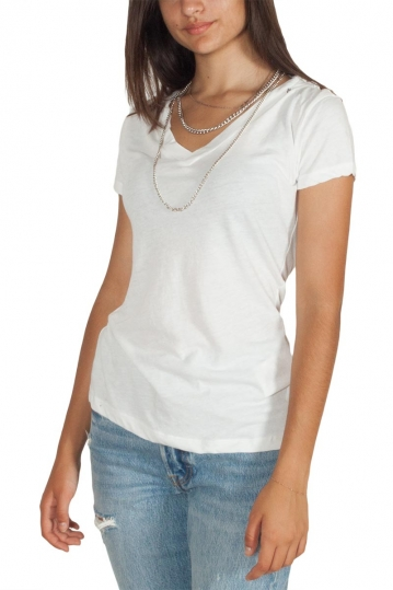 Replay V-neck T-shirt white with chain