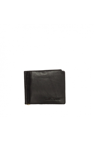 Hill Burry men's leather RFID wallet black with money clip