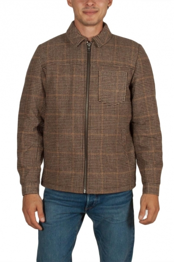 Anerkjendt Alfi lined shirt jacket checked brown