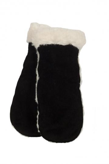 Anerkjendt Bear men's suede gloves black with faux-fur