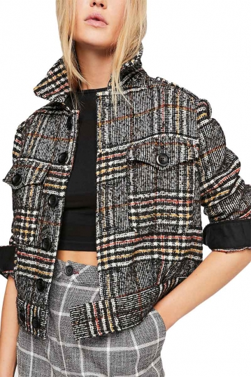 Free People Eisenhower plaid jacket black