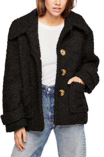 Free People cozy faux-fur jacket black