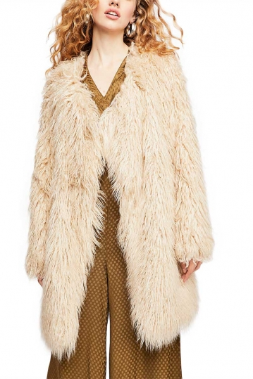 Free People Florence faux fur coat sand
