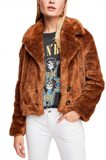 Free People Mena faux fur brown